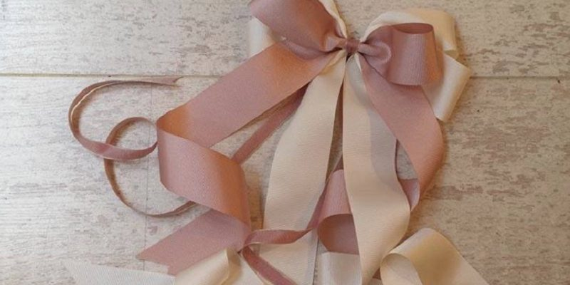 pink and cream ribbon bow