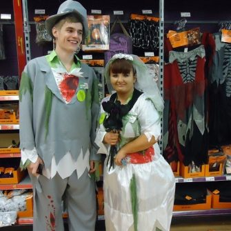 Halloween bride and groom