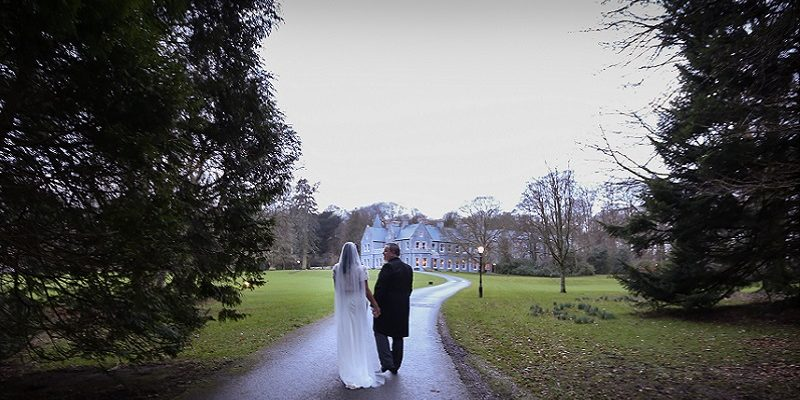 Bride and Groom on long path