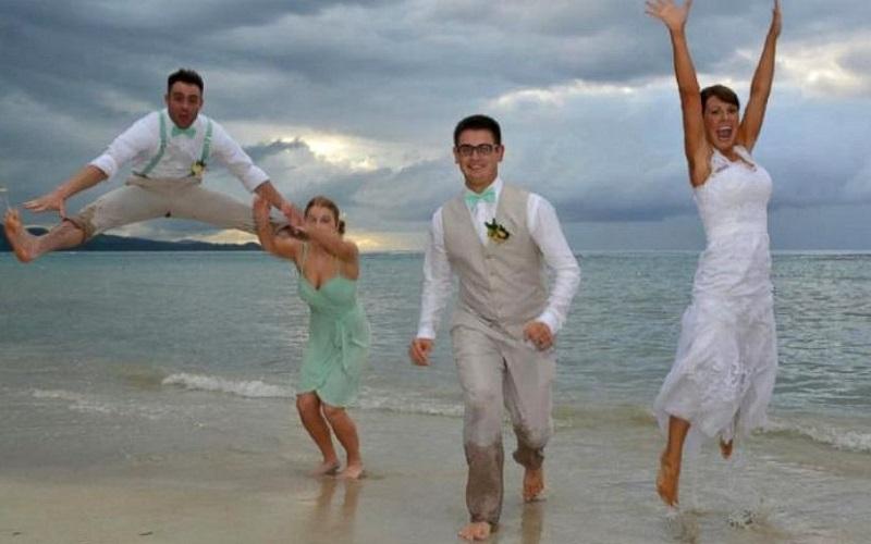 groomsman kicks bride in the face