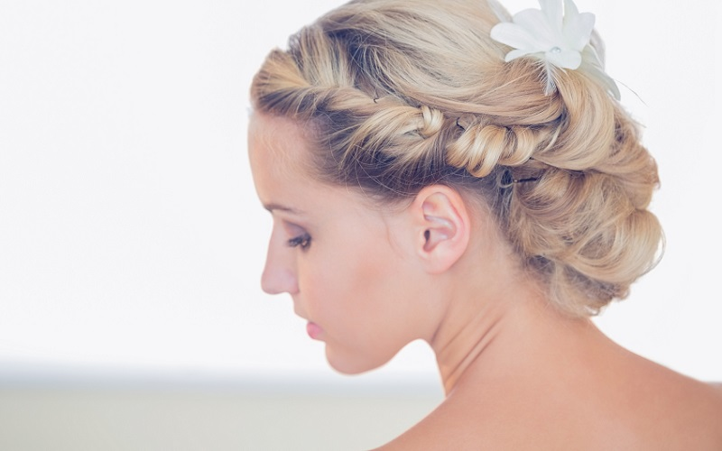 bride with twisted up do