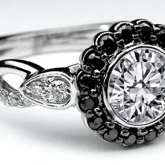 black and diamond engagement ring