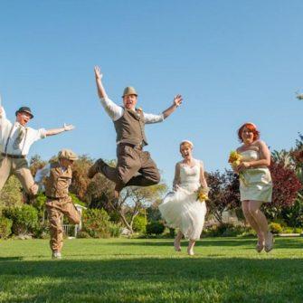 bridal party jumping