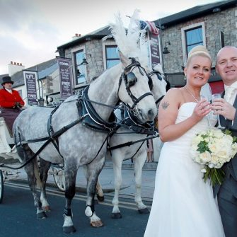 couple and horse drawn cart