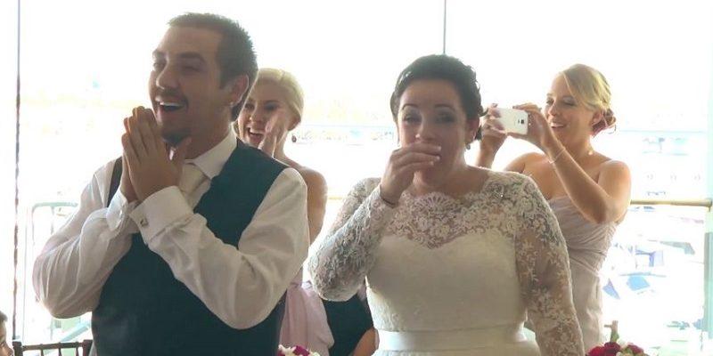 bride and groom reaction to ed sheeran surprise