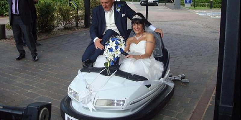 Bumper cars, tractors and other unusual wedding transport