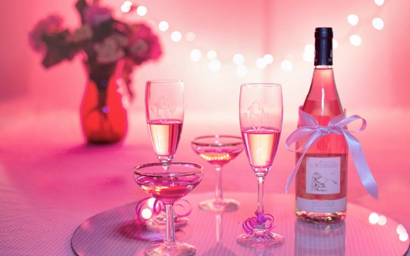 pink wine and glasses