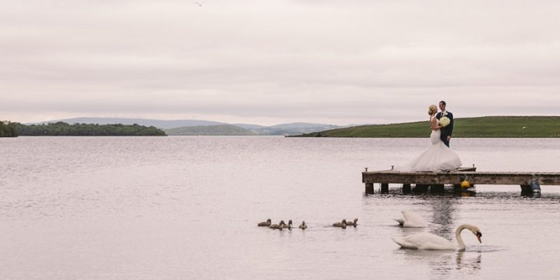 bride and groom on lough