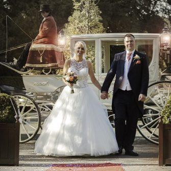 bride and groom walking in