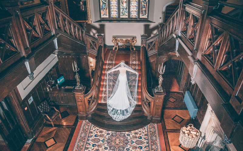 bride on stairs in Markree Castle