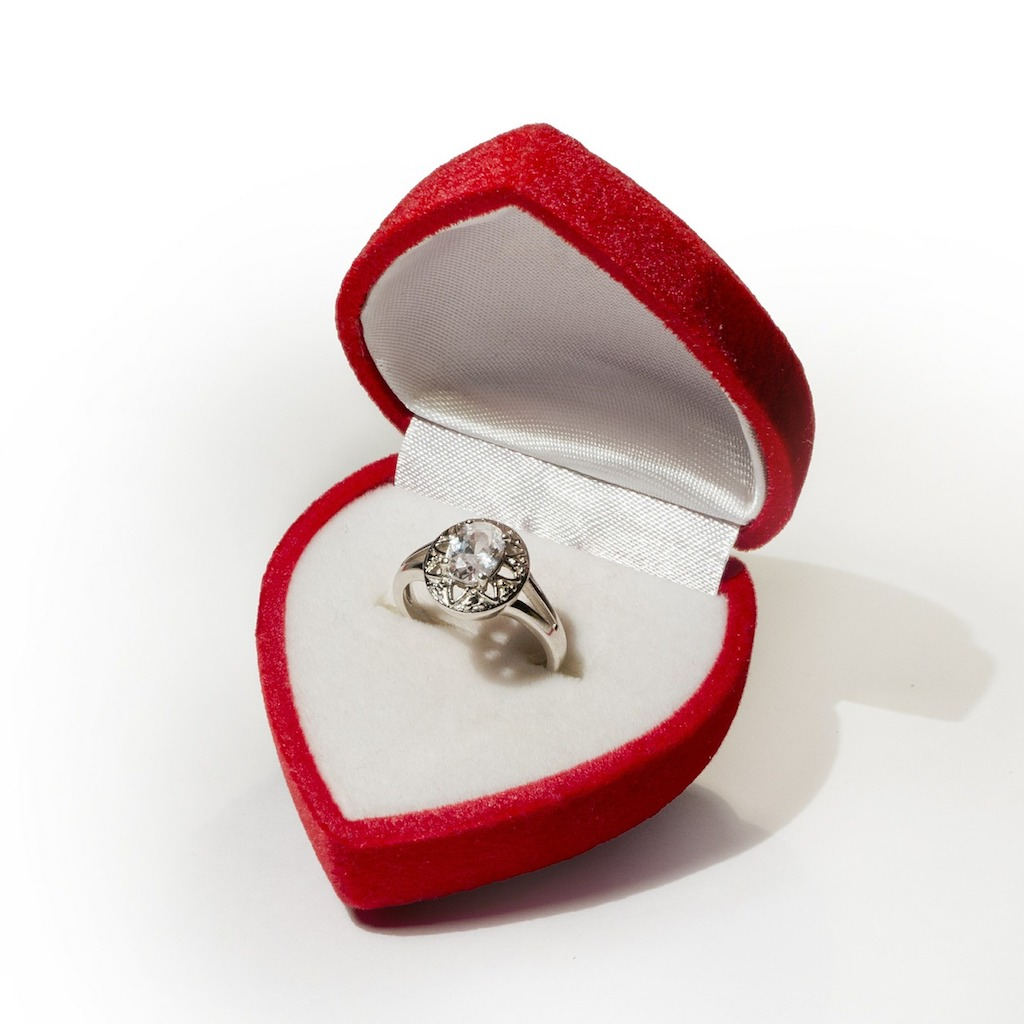 engagement ring on a box