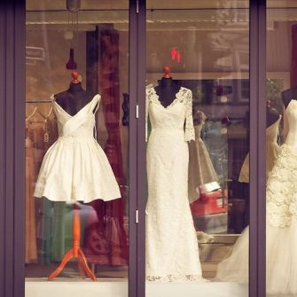 dresses in window