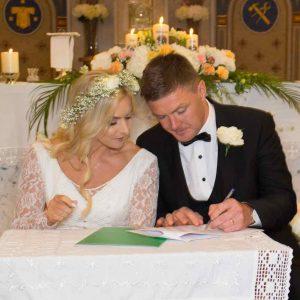 Irish bride in mother's wedding dress