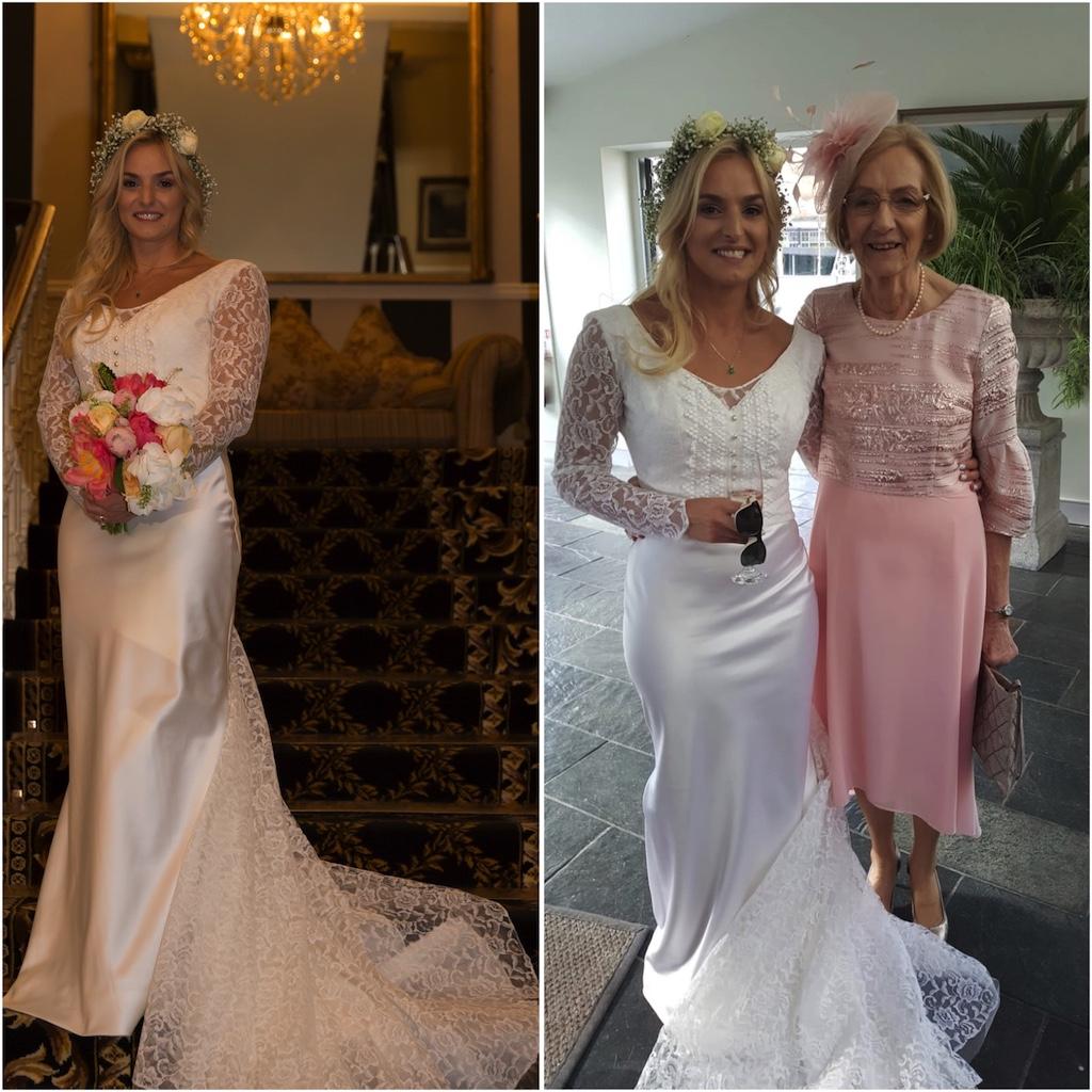 Irish bride wear mum's wedding dress