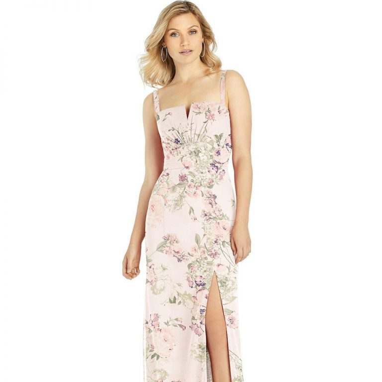 Dessy floral bridesmaids dress