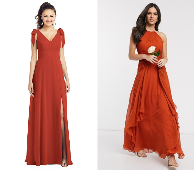Burnt-Orange-Wedding-Theme-Bridesmaid-Dresses