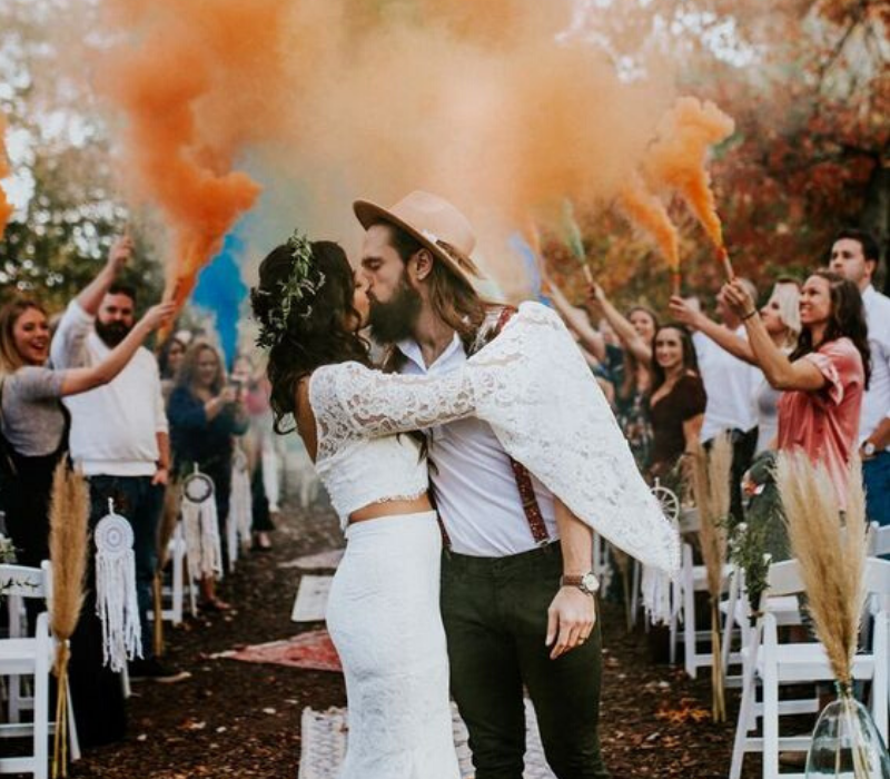 Burnt-Orange-Wedding-Theme-Smoke-Bomb