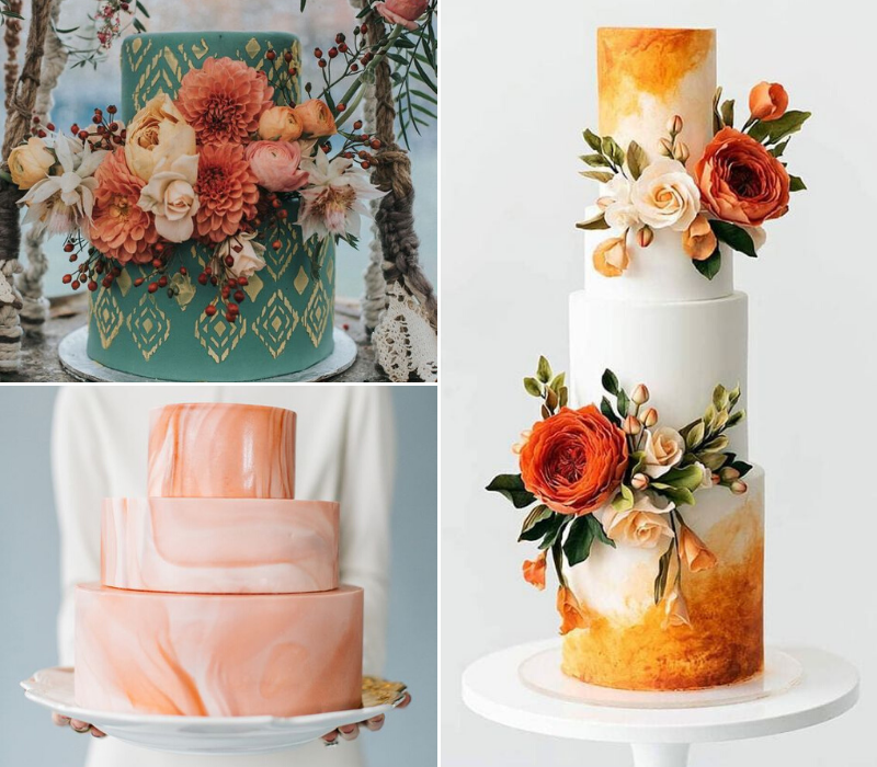 Burnt-Orange-Wedding-Theme-Wedding-Cake