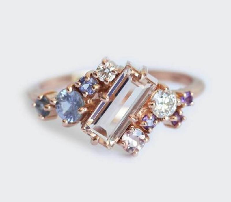 Cluster-Set-Engagement-Ring