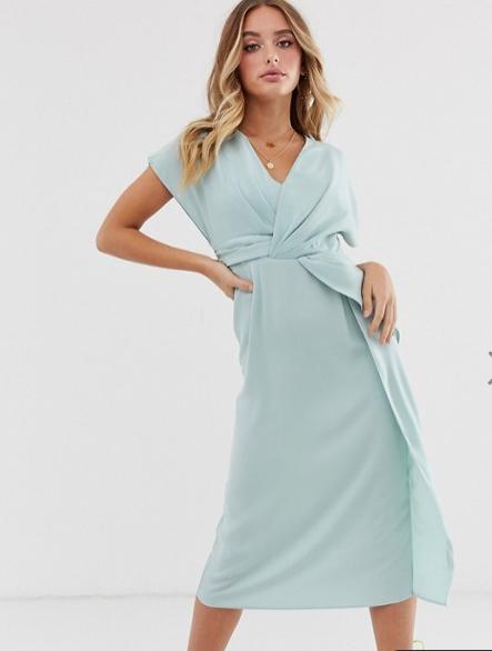blue tie front dress