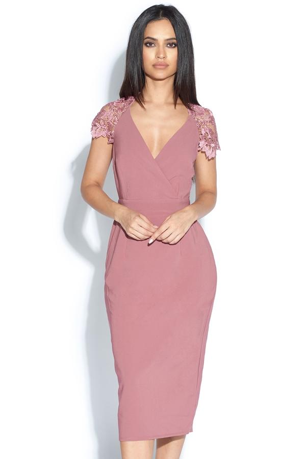 dusky pink midi dress