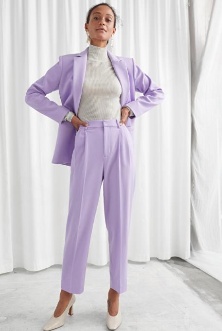 purple tailored suit