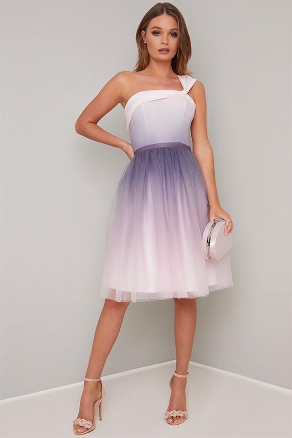 ombre wedding guest dress